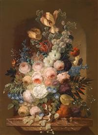 großes, dekoratives blumenstillleben by josef (kamenitzky) steiner