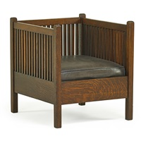 spindled cube chair by gustav stickley
