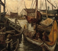 indonesian boats in a harbor by charles sayers