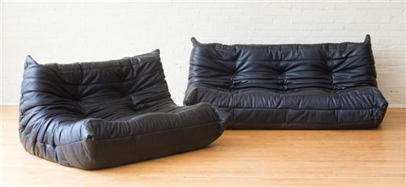 Michel Ducaroy Ligne Roset Black Leather Togo Sofa And Love Seat Von