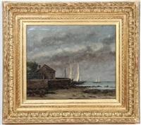 une maison de bord de mer à saintonges avec des petits voiliers à l'arrière plan by gustave courbet