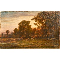 landscape grazing cattle by charles wilson knapp