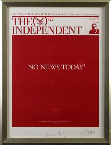 no news today (the red independent front page) by damien hirst