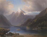 gebirgssee mit blick auf schneebedeckte berge by josef holzer