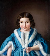 portrait of a young girl wearing a fur-trimmed blue jacket by heinrich paul