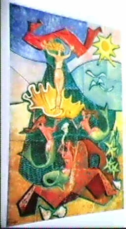 vaggrelief av keramik med dekor av undervattenslandskap med sjojungfrur snackor ovh sjostjarnor by amaral