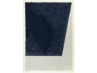 colored paper image x (blue with gray) by ellsworth kelly