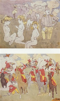 near pandanoar, vivian girls cornered and captured by glandelinians while out swimming by henry darger