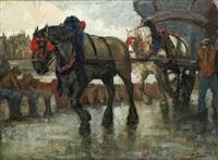 chevaux de halage dans le port d'anvers by kurt peiser