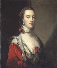 portrait of a lady in an elaborate red dress with ermine trim, a white lace ruff, and pearls in her hair by john astley