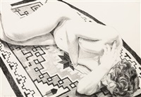 model on grey patterned rug (from peace portfolio) by philip pearlstein
