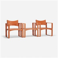 pair of armchairs, model 270f and stool, model 270h by verner panton