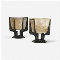 sculpted metal lounge chairs model pe-141 (pair) by paul evans