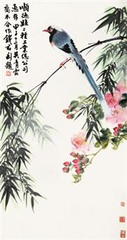 花鸟 立轴 设色纸本 by wu qingxia, qiao mu, and qian juntao
