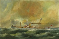 british steamer off le havre by edouard (the younger) adam