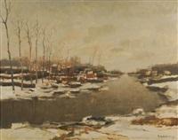paysage de la lys en hiver by albert saverys