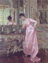 interior fra nymphenburg med ung pige ved et spejl by albert raudnitz