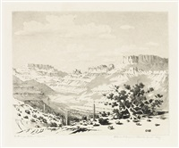 oasis of the seven palms * cloud shadows, apache trail, arizona (2 works) (from the desert set) by george elbert burr