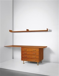 unique drawers unit with desktop and wall-mounted shelf, designed for a villa, liguria by gio ponti