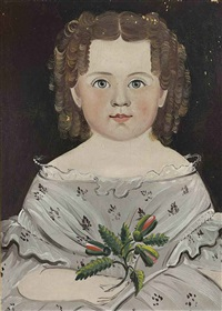 portrait of a young girl in a gray dress by william matthew prior