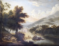 a shepherd attending his flock in an extensive wooded river landscape, with a barge approaching the shore in the distance by anglo-flemish school (18)