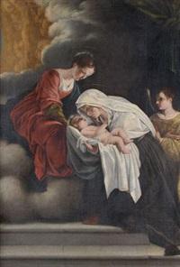 la vierge présentant l'enfant à sainte françoise romaine by orazio gentileschi
