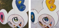 dob in pure white robe (pink & blue); and then x 6 (white: the superflat method, blue and yellow ears) (2 works) by takashi murakami