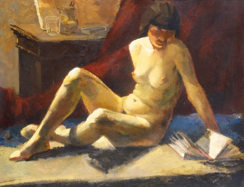 reading woman nude by jenö gábor