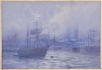 anchored along the thames: westminster abbey through the fog by frederick william scarborough