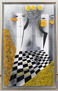 panneau figurant un damier et deux visages by gilbert valentin