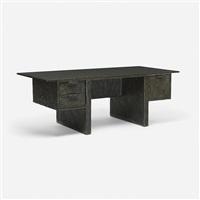 custom sculpted metal desk by paul evans