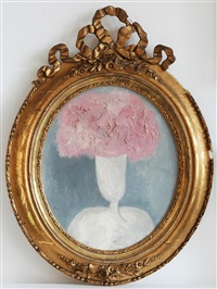 head of girl, bouquet in white vase by vladimir komarek
