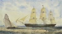 george thompson & co immigrant barque in hobson's bay by george frederick gregory