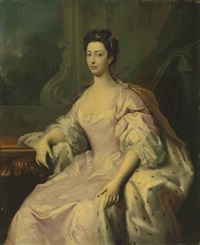 portrait of princess caroline elizabeth (1713-1757), daughter of king george ii, three-quarter-length, in a pink dress and ermine-lined cloak by jacopo amigoni