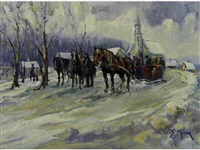 untitled (horse-drawn sleigh by the church) by ernest marza