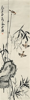 枝头麻雀图 (three sparrows and bamboo) by qi baishi