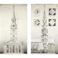 the west front of the church of st. martins in the fields, westminster (+ 2 others; 3 works) by augustus bryett