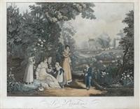 le printemps (+ 4 others; 5 works from the quartre saisons suite) by jean-pierre-marie jazet