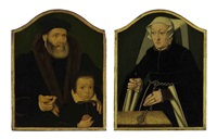 portrait of a gentleman and his son (+ portrait of a lady; pair) by bartholomäus (barthel) bruyn the younger