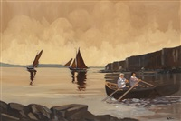 two men rowing a currach at the cliffs of moher by alex mckenna