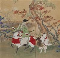 byobu depicting empress jingu・kogo (6 screens) by hogai kano