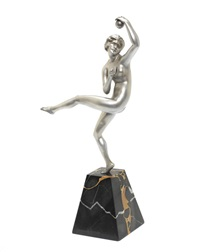 dancer with ball' an art deco silvered bronze figure by maurice guiraud-rivière