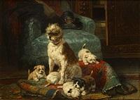 hond met haar jongen in een interieur by henriette ronner-knip