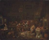 peasants smoking and making merry in a kitchen interior by egbert van heemskerck the elder