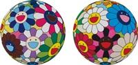 flower dumpling; and flower ball (algae ball) (2 works) by takashi murakami