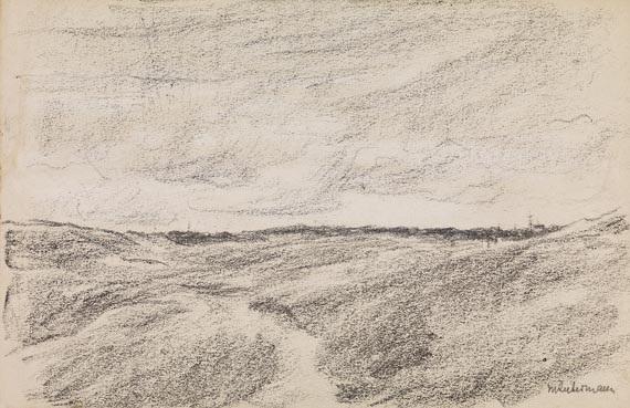 freies feld dünenlandschaft mit dorfsilhouette by max liebermann