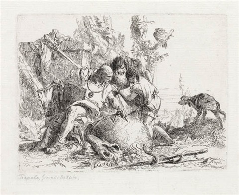 due maghi ed un fanciullo from scherzi by giovanni battista tiepolo