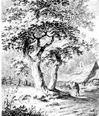 landscape with a peasant by large trees, farm buildings behind by jacob van liender