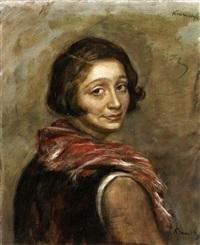 portrait de femme au foulard by romain kramstyk