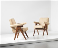committee armchairs, model no. pj-si-30-a, designed for the high court, assembly and punjab university administrative buildings, chandigarh (pair) by pierre jeanneret